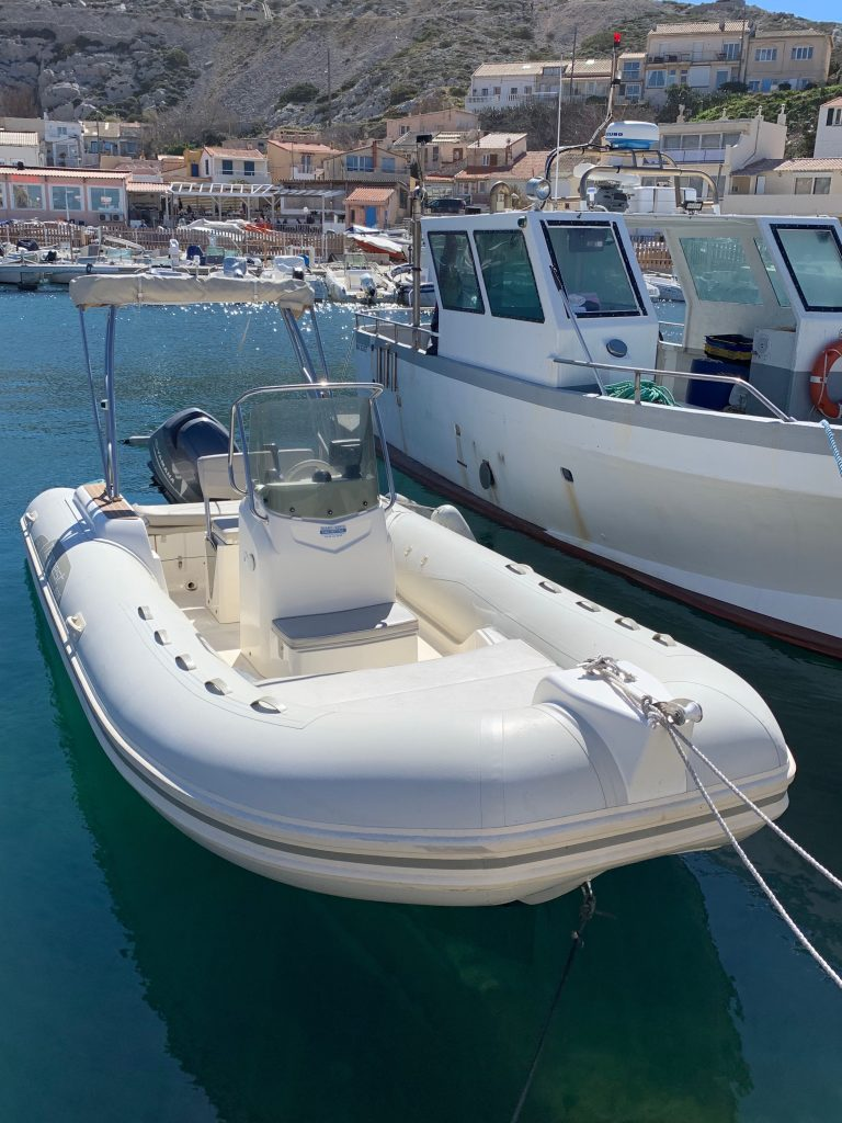 Rigid-hulled inflatable boat (Capelli Tempest 626; Nino 1) at JJ Boat Rental Marseille