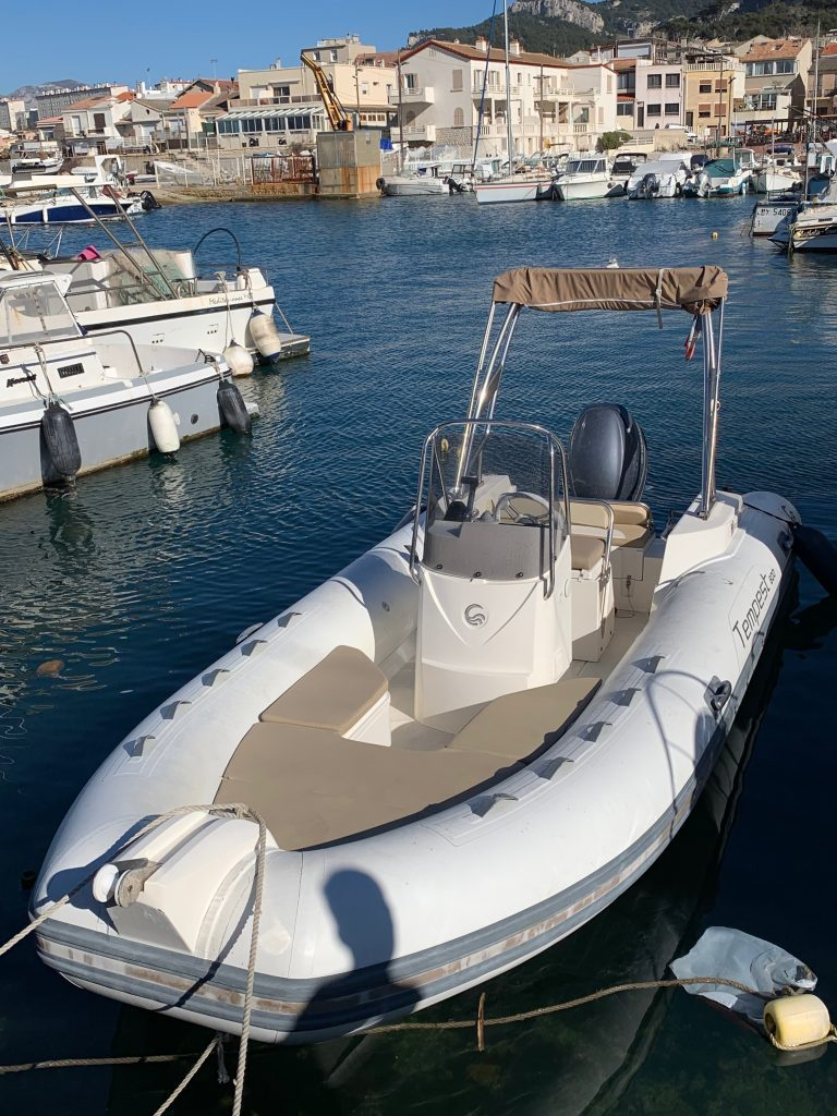 Rigid-hulled inflatable boat (Capelli Tempest 600; Nino II) at JJ Boat Rental Marseille